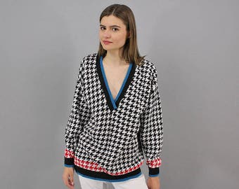 Oversized V-Neck Houndstooth Sweater / Vintage 80s Sweater / Slouchy Sweater / Boyfriend Sweater / Casual Sweater Δ fits sizes: S/