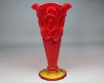 LE Smith Moon and stars bud vase , amberina / red colors , partial label