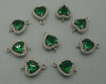 Emerald Heart  Cubic Zirconia CZ Rhodium Plated Connector Findings Jewelry Supply.
