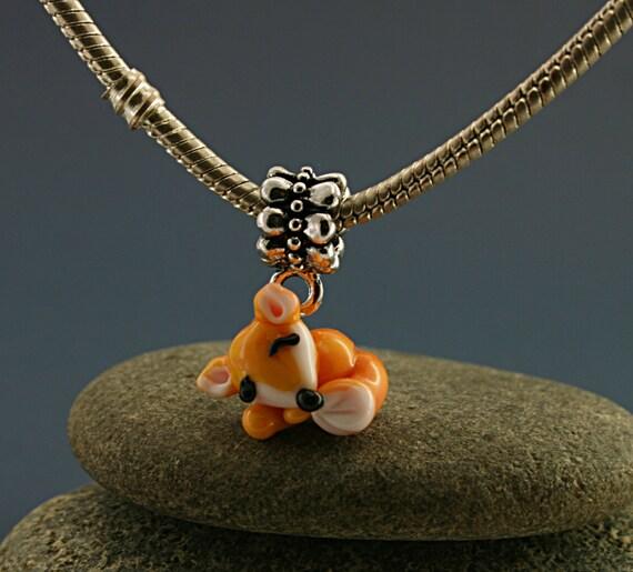 Fox charm fox necklace fox pendant fox Jewelry fox gift fox bracelet figurine miniature sculpture fox totem glass lampwork fox bead tiny