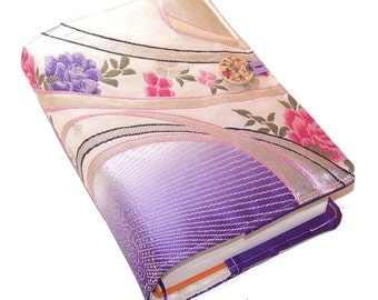 Large Padded Bible Cover in Vintage Silk Brocade Obi Fabric, Book Cover, Roses Lavender & Pink, UK Seller, for Hardback or Paperback Books