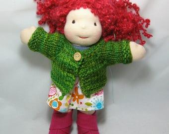 Hand Knit Wool Cardigan for 8-9 Inch Dolls