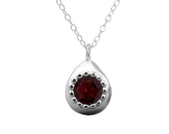 Deep Red Garnet Necklace Silver, Garnet Jewelry, Silver Necklace, Teardrop Pendant, Womens Gift, Red Gemstone Necklace, January Birthstone