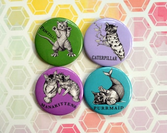 4-Pack, 2017 Cat Collection, Whatif Creations Punny Hybrid Animals, 1.5 Inch Round Pinback Buttons