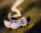 Ginkgo Leaf Necklace Mothers Day Gift Antiqued Matte Gold Plated Autumn Leaf - N128