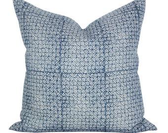 Batik pillow cover in Pacific Blue Linen