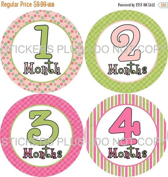 SALE Baby Month Stickers Plus FREE Gift Baby Girl Monthly Milestone Stickers Cute Pink Green Stripes Circles Monthly Baby Photo Prop