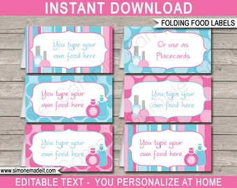 Spa Party Food Labels - Spa Theme Party - Food Buffet Tags - Placecards - Printable Party Decorations - INSTANT DOWNLOAD - EDITABLE text