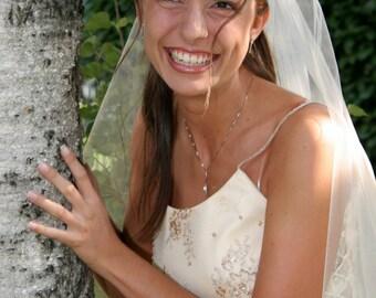 Long Cascade Bridal Veil Full Circle Cut Pencil Ruffled Edge Model Albertina