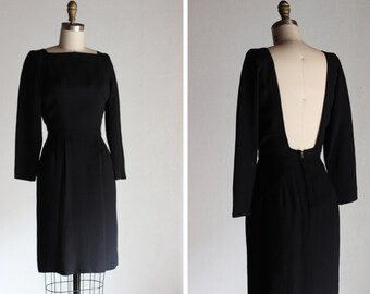 1960s City Nights Black Dress / Open Back Dress
