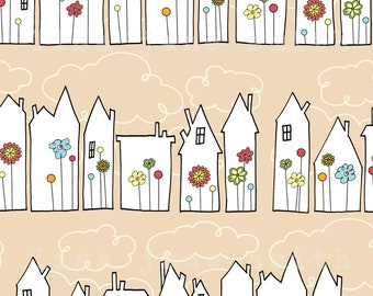 Funky houses print - village town pattern - 8x10 vertical art print