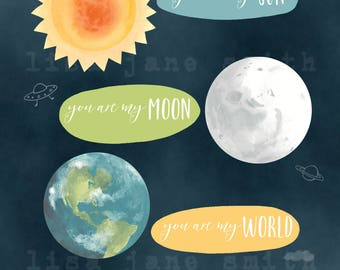 Sun moon world print - romantic wall art - love print - nursery art - 8x10 vertical art print