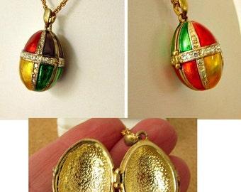 vintage 80s enamel egg locket necklace gold tone colorful  rhinestone trim