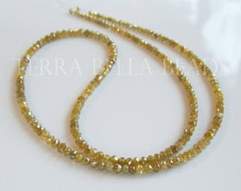 "1"" natural genuine yellow DIAMOND faceted gem stone rondelle beads 2mm"