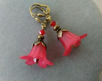 Red Lucite Flower and Swarovski Crystal Earrings