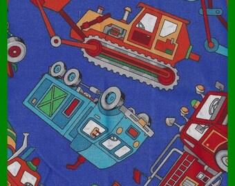 Fabric Cotton Fun Kids Tractors Dump Trucks, Bulldozers, Colorful Print Cranston Print FAT QUARTERS