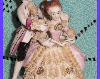 Dresden Lace Fine Porcelain Lady Gentleman Couple Figure Gilt 1950s Victorian Reading Book