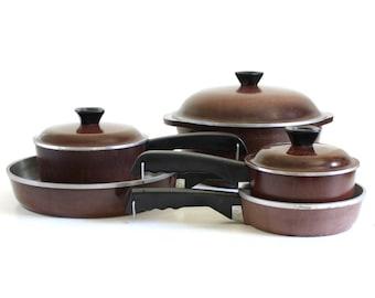 "Club Aluminum Cookware Set, Brown: 10"" Skillet, 5 Qt Dutch Oven, 1.5 & 2 Qt Saucepans (as-is)"