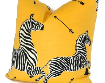 Yellow Scalamandre OUTDOOR Zebra Decorative Pillow Cover  Lumbar Pilllow, Accent Pillow, Throw Pillow