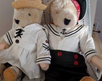 "Vtg North American Teddy Bears Vanderbear Family ""All Paws on Deck"" Renaissance Cruises Boy Girl Pair Alice Cornelius Set 1995 Stuffed Toys"