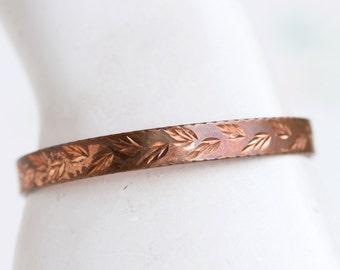 Copper Cuff Bracelet - Etched Leaves Boho Bracelet - Vintage Primitive Jewelry