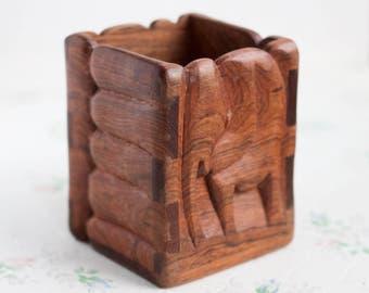 Carved Wood Elephant Cup - Desktop Pen Pot - Square Vase - Boho home Decor