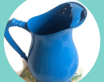 Vintage silver plated water pitcher enameled in cobalt blue, Re-cycled by BMC Vintage Design Studio FOOD SAFE