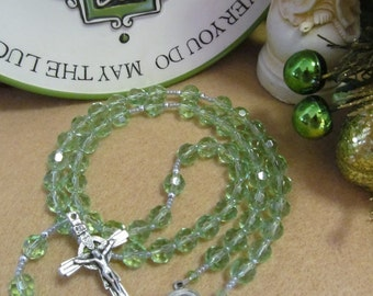 Catholic Rosary Spring Green Faceted Glass Celtic Crucifix