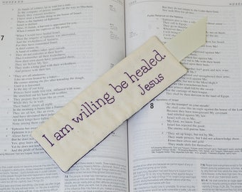 Christian Bookmark, Religious Book Accessory, I Am Willing Be Healed, Scripture Hand Embroidery, Bible Study Thank You Gift, Purple Swirls