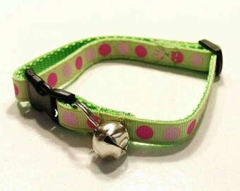 Cat Collar - PINK and PINK Dots on Green - Choose Your Style