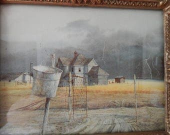 Beautiful Farmhouse Ornate Framed Picture Old Gate, Galvanized Bucket