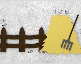 Die Cut Farm Haystack & Pitchfork Premade Paper Piecing Embellishment for Card Making Scrapbook or Paper Crafts