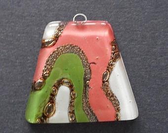 """1.75""""X1.5""""  Art Glass pendant-golden foiled Murano glass pendant"""