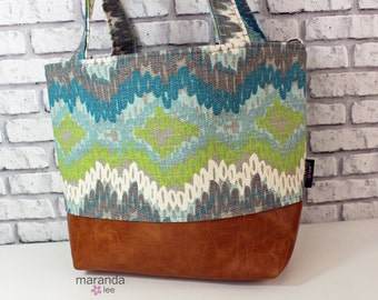Lulu Medium Tote  Bag - Chico Chevron Frost and PU Leather - READY to SHIP   Purse Shoulder Straps 3 pockets Handbag Washable