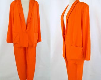 1990s Bright Orange 2 Piece Suit, Jacket and Slacks by Marnie West, NOS