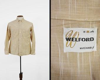 Vintage 50s Slub Shirt Maple Brown Cotton Welford Button Down Collar - Medium