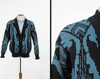 Vintage 80s Black Blue Cardigan Sasson Sweater Button Up Acrylic - Large