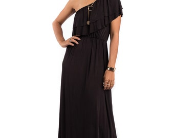 One shoulder dress, black dress, maxi dress, black ruffle dress : Elegant Collection