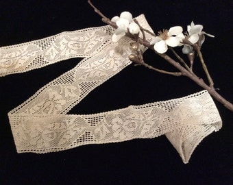 Vintage Light Ivory Cotton or Rayon Filet Type  Lace, Vintage Trim, Vintage Country Lace