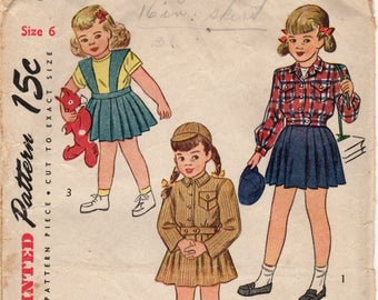 Vintage 1946 Girl's lumber jacket and suspender skirt pattern. Vintage mid-century collectible sewing pattern. Uncut Size 6