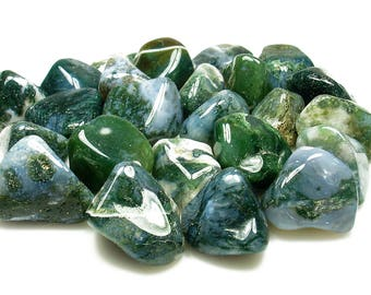 TUMBLED - (2) Medium/Large MOSS AGATE Crystals with Description Card - Healing Stone Reiki