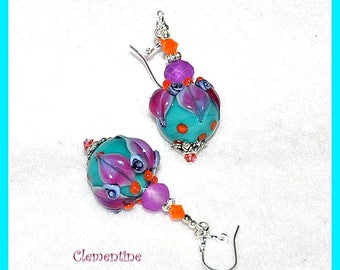 Turquoise and Purple Earrings,Dangle Earrings,Colorful Earrings,Floral Earrings,Flower Jewelry - CLEMENTINE