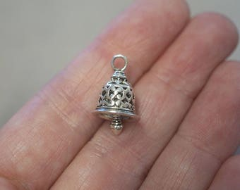 2 Metal Antique Silver Bell  Charms - 19mm - 3D