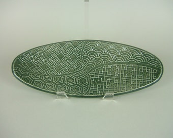 Dark Green / Gray Black Green Oval Serving Plate / Bread Tray