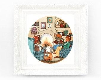 6x6 Woodland Animals Vintage Nursery Print Fairytale Illustration Babys Bedroom Framing Original Book Plate Creatures Rabbit HH25