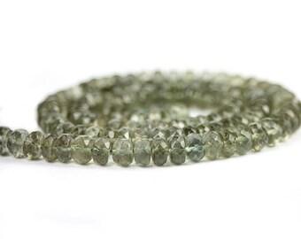 Moss Aquamarine Micro Faceted Rondelles 8 Olive Green Semi Precious Gemstone March Birthstone