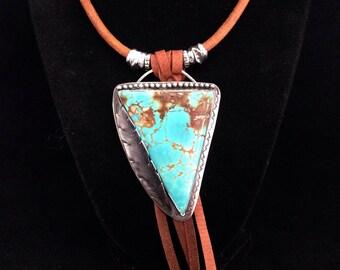 Handmade Jewelry, Royston Turquoise, Large Pendant, Feather, Southwest Fashion, Boho, Turquoise Jewelry, OOAK, Leather Jewelry