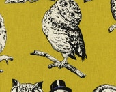 Country House - Owls Mustard Yellow CANVAS from Cosmo Textiles