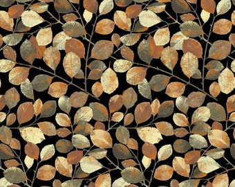 Shades - Black Leaves with Metallic by Norman Wyatt Jr. from P & B Textiles