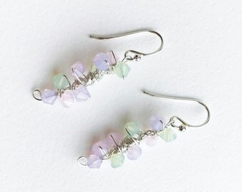 Opal Dangle Earrings Romantic Pastel